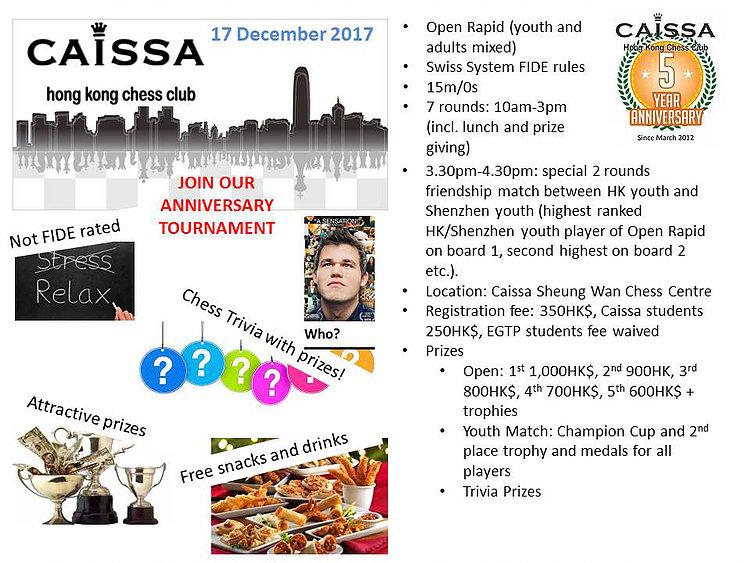 Caissa's 5 Year Anniversary Open Rapid 17 December