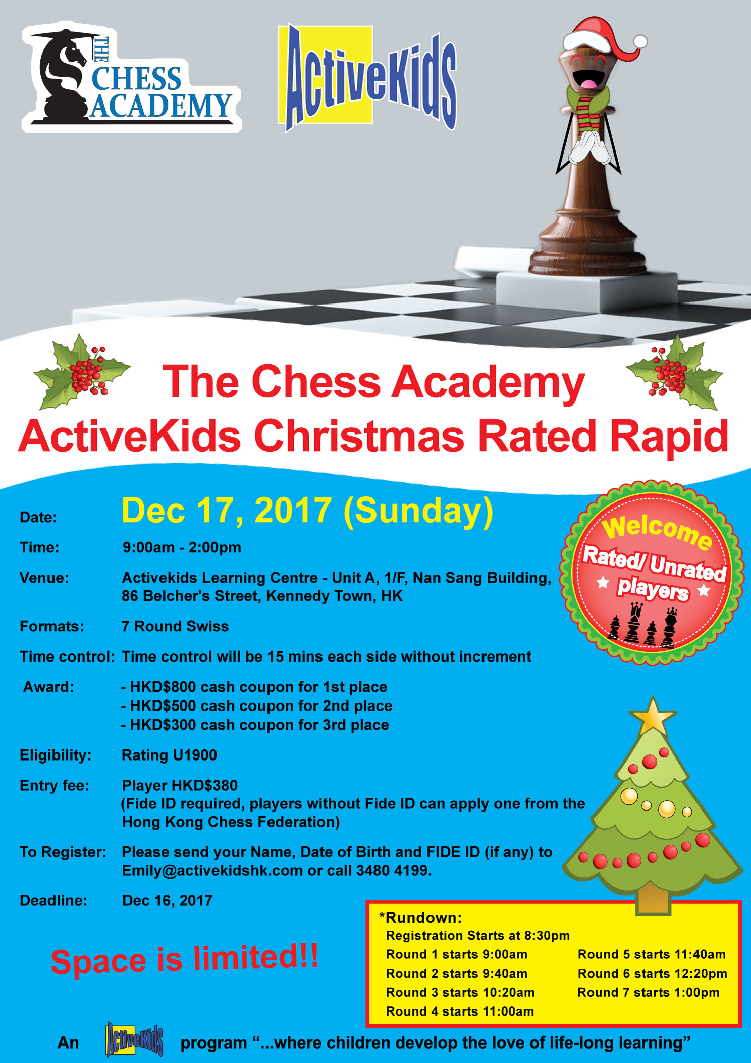 The Chess Academy ActiveKids Christmas Rated Rapid 2017