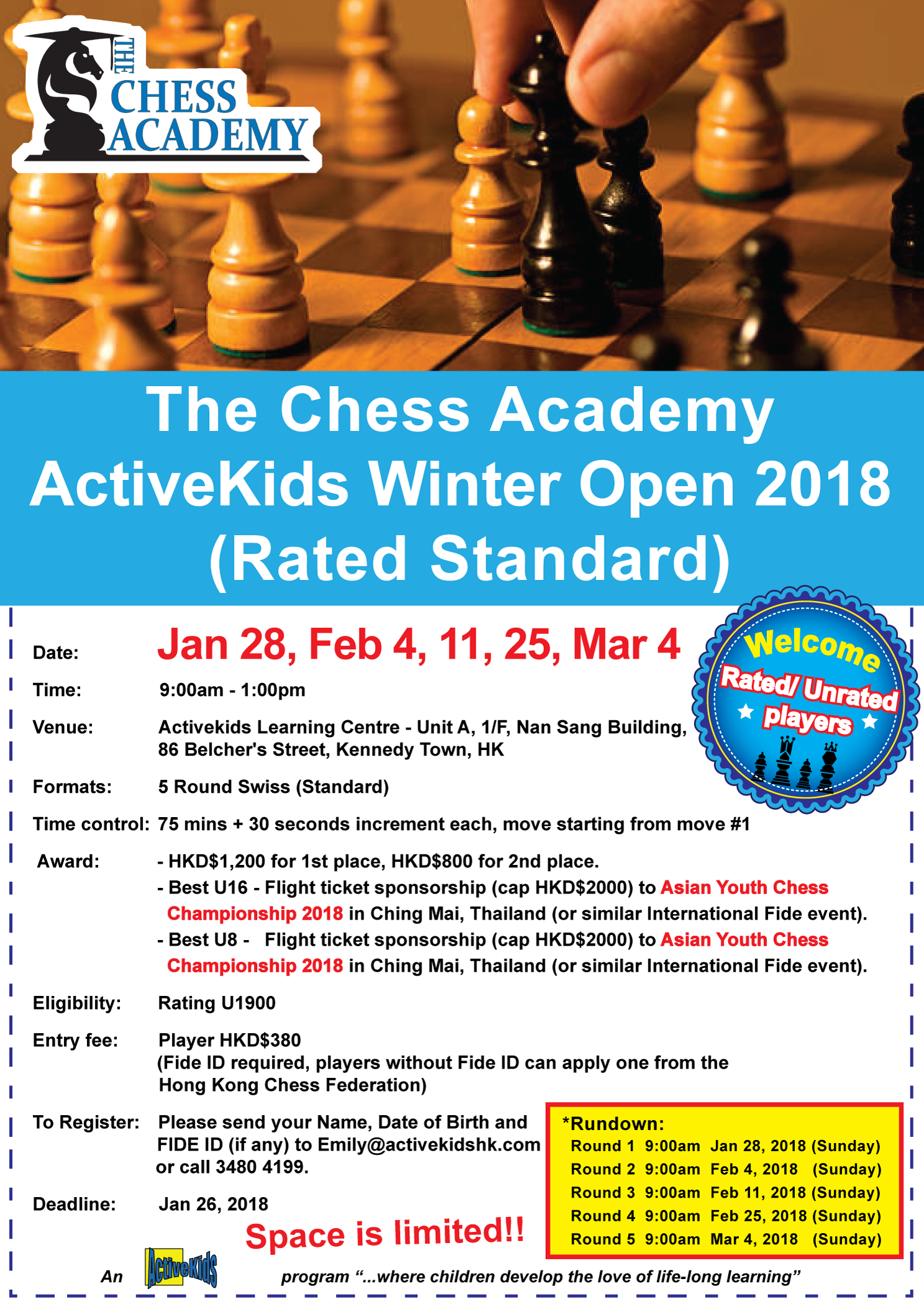 The Chess Academy ActiveKids Winter Open 2018 (Rated Standard)